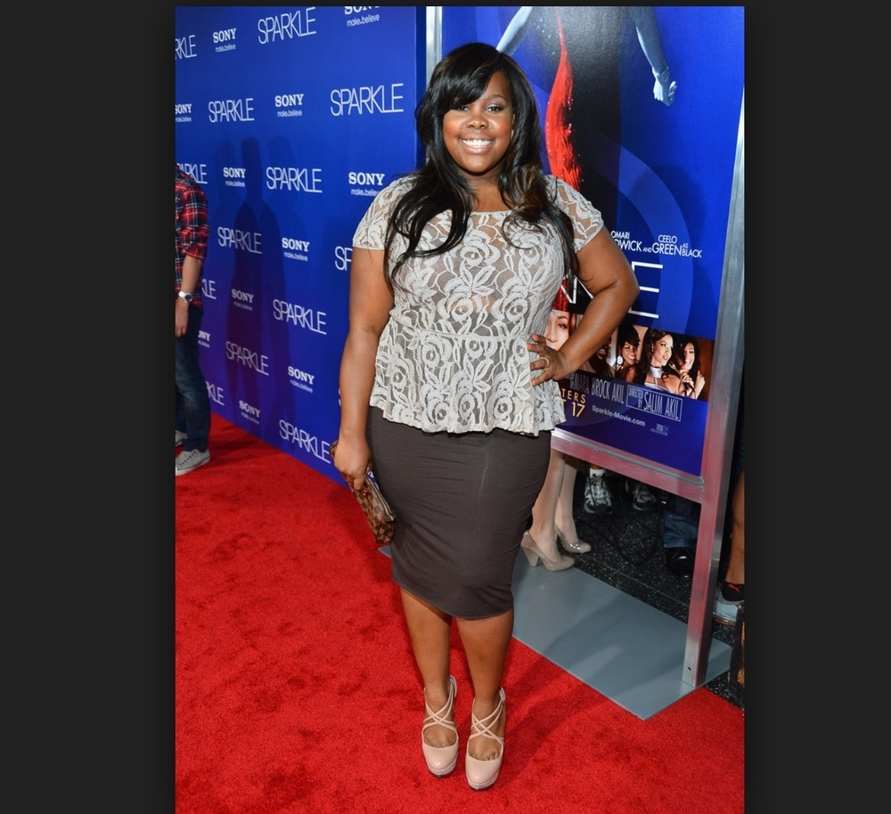 Glee's Amber Riley in a Peplum Top available on RileyLand for $20