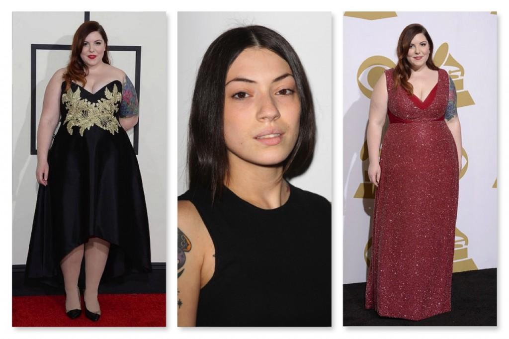 Grammy red carpet and performance dresses for singer Mary Lambert, both designed by Helen Castillo