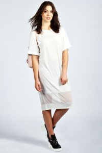 BooHoo Evie Mesh Hem Dress