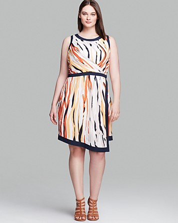 DKNYC Plus Abstract Print Dress
