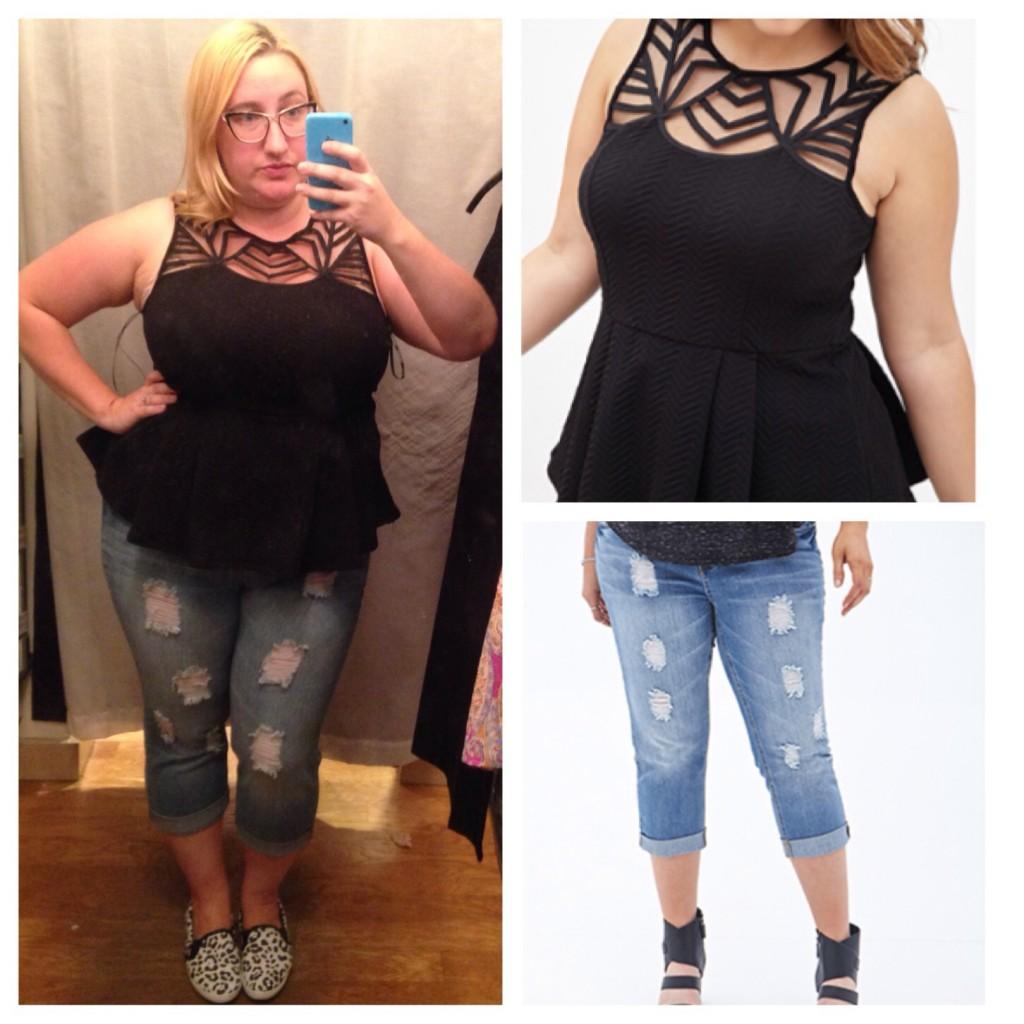 Geo Matelassé Peplum Top, $20; Distressed Cropped Boyfriend Jeans, $25