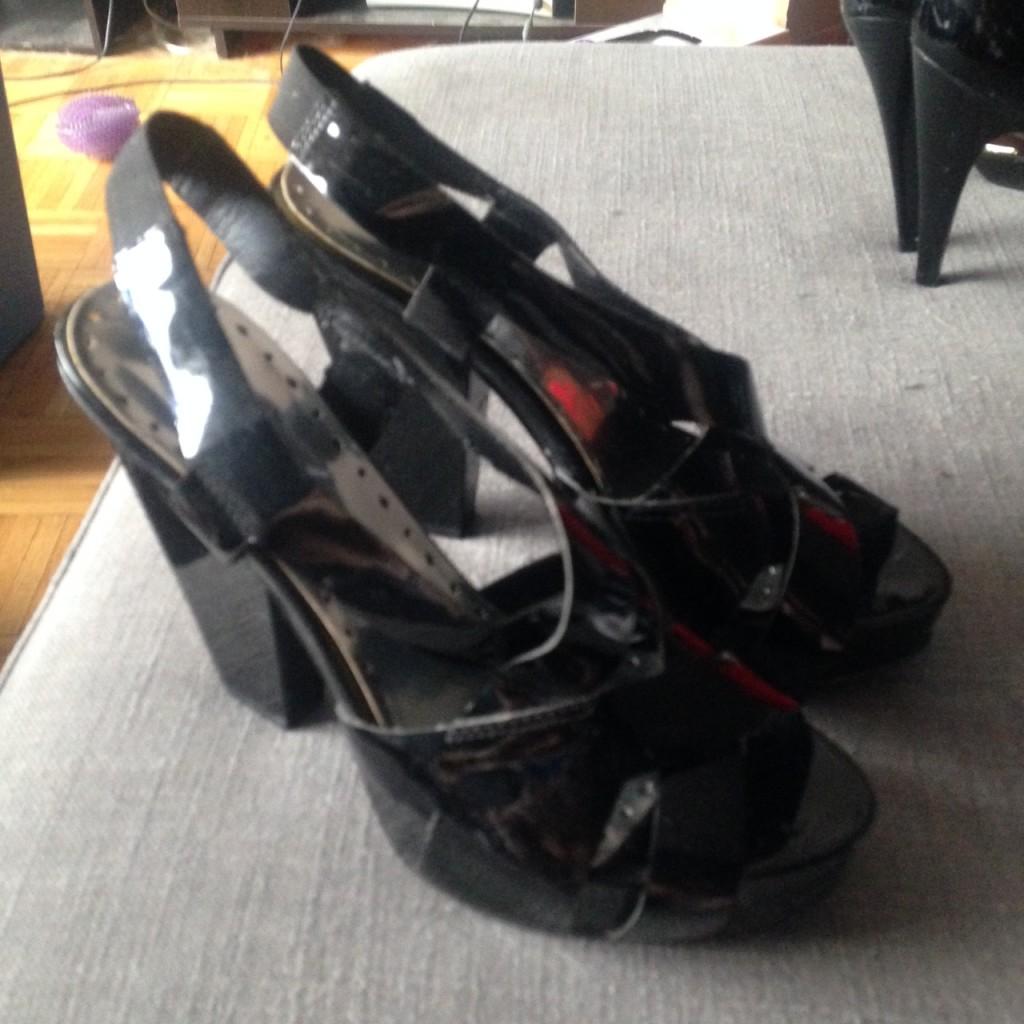 BCBGeneration Angled Block Heel Patent Sandals, $10