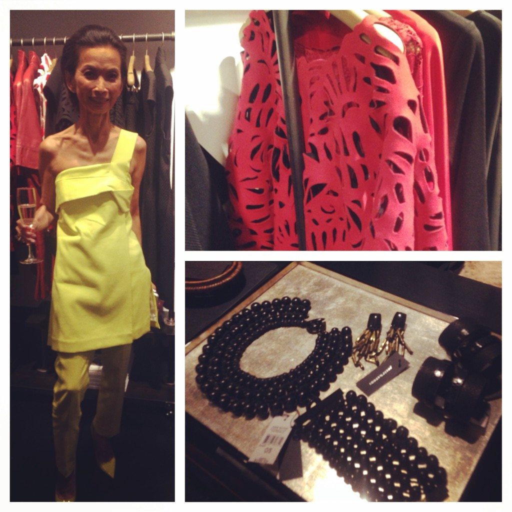 Designer Josie Natori in her own design; the gorgeous laser cut wool cardigan on the rack; and some of the statement wooden jewelry in store