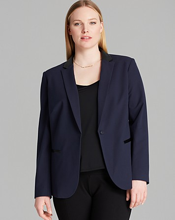 DKNYC Navy Blazer with Faux Leather Accents, $47
