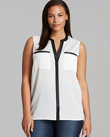 Calvin Klein Faux Leather Trim Tank, $14