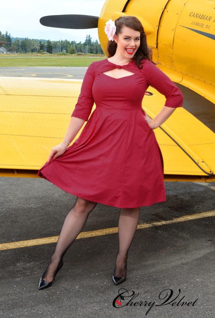 Cherry Velvet Daphne Dress