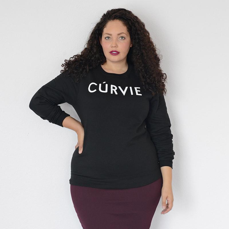 Girl With Curves Off Shoulder Sweatshirt