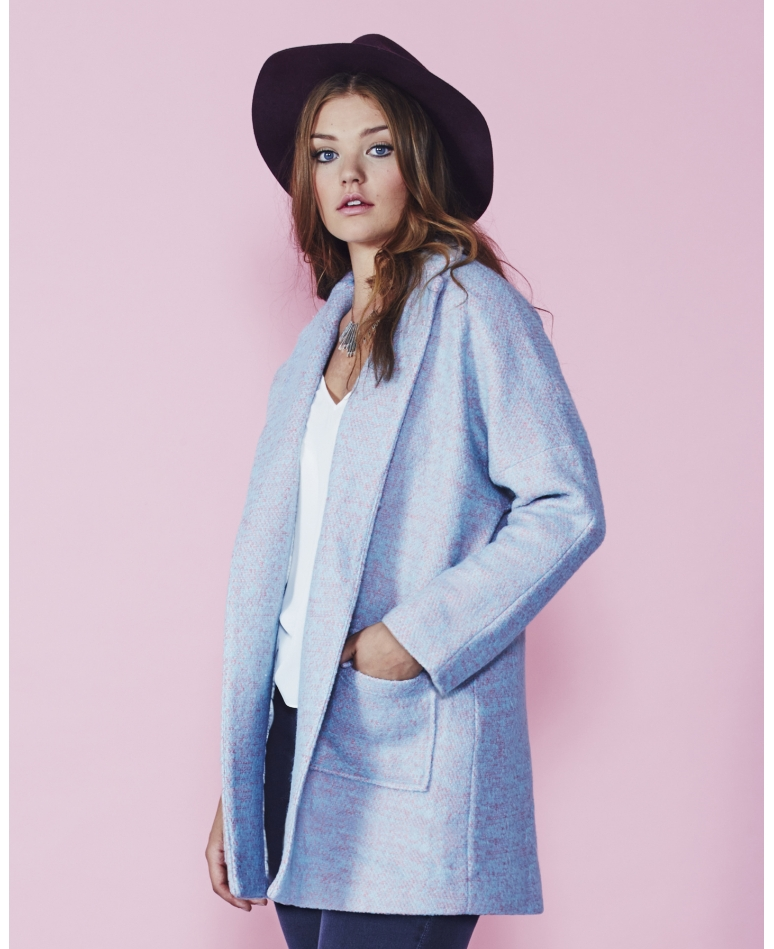Simply Be Blue Speckled Coat