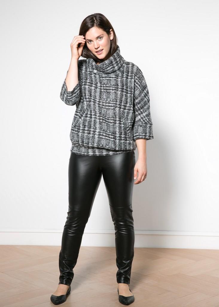 Violeta Wool Mohair Blend Plaid Sweatshirt