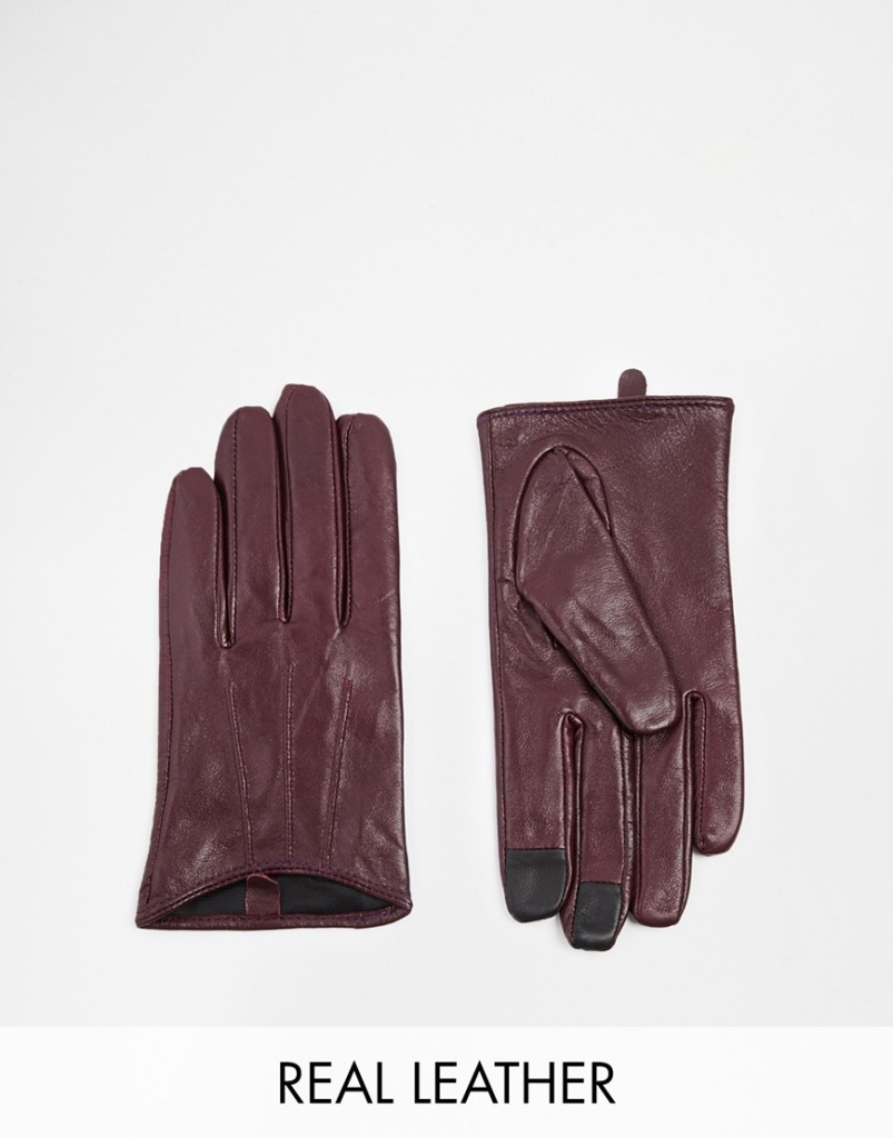 ASOS Marsala Leather Gloves