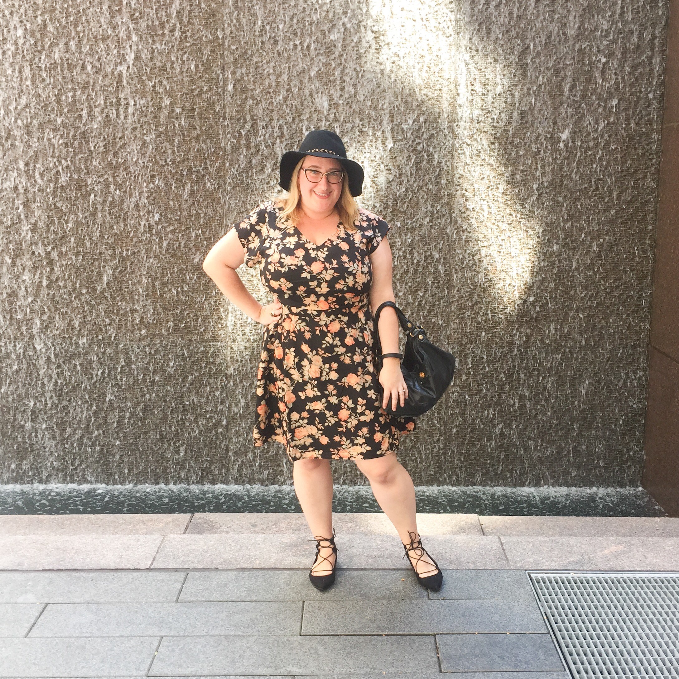 OOTD: Dark Florals and Lace Up Flats