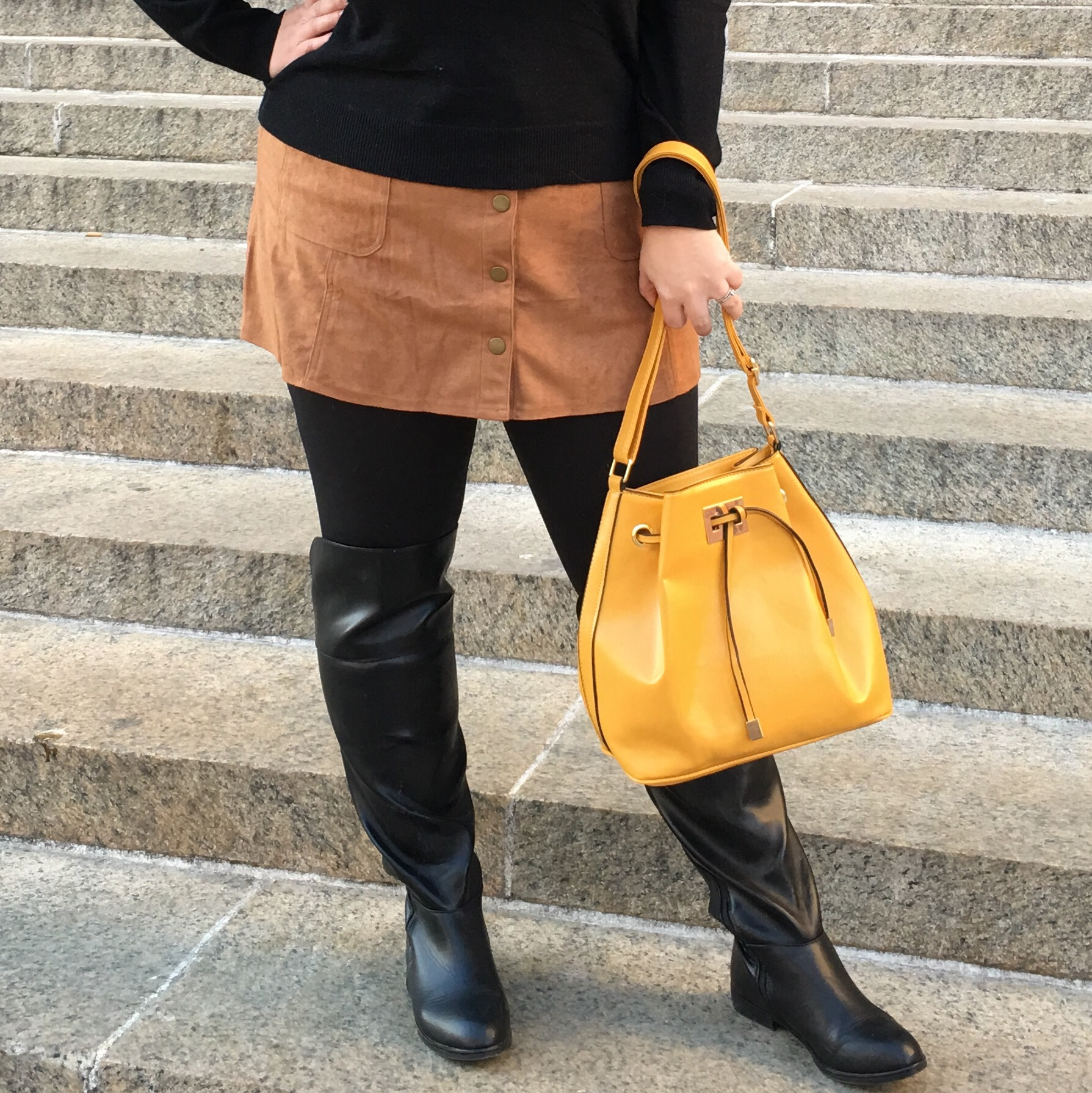 OOTD: Suede Mini and OTK Boots