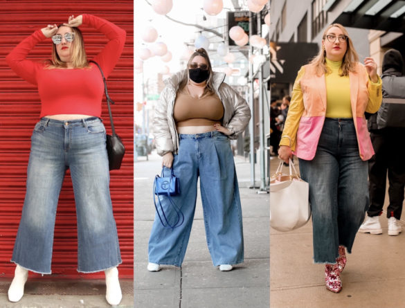 Sarah in three pairs of plus size wide leg jeans on trend for 2021