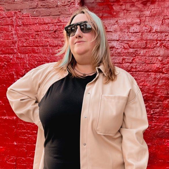 Sarah wearing a plus size shacket